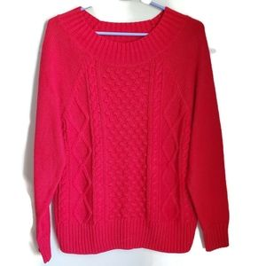 Chaps | Red Cable Knit Sweater